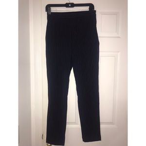Navy trousers with strips